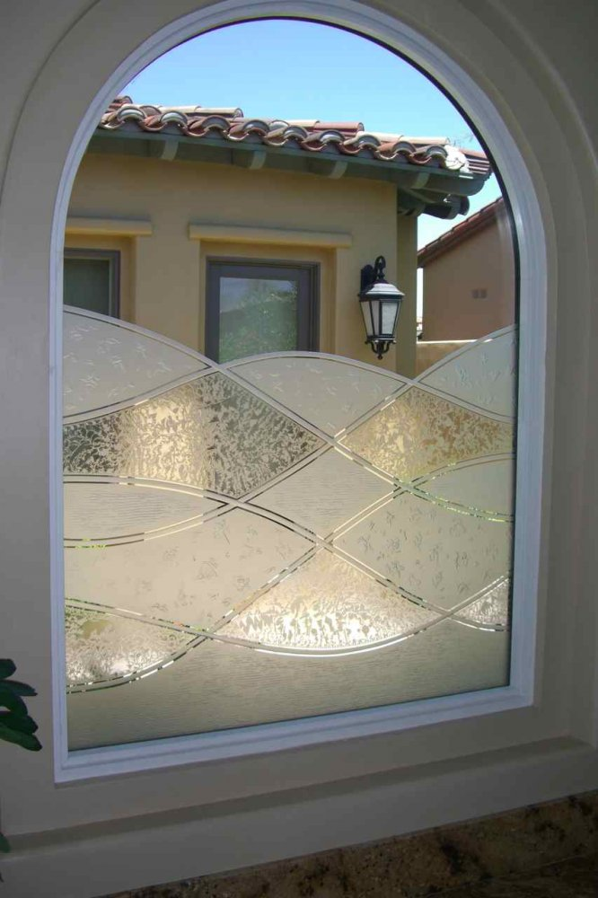 Window with Etched Glass Abstract Rustic by Sans Soucie
