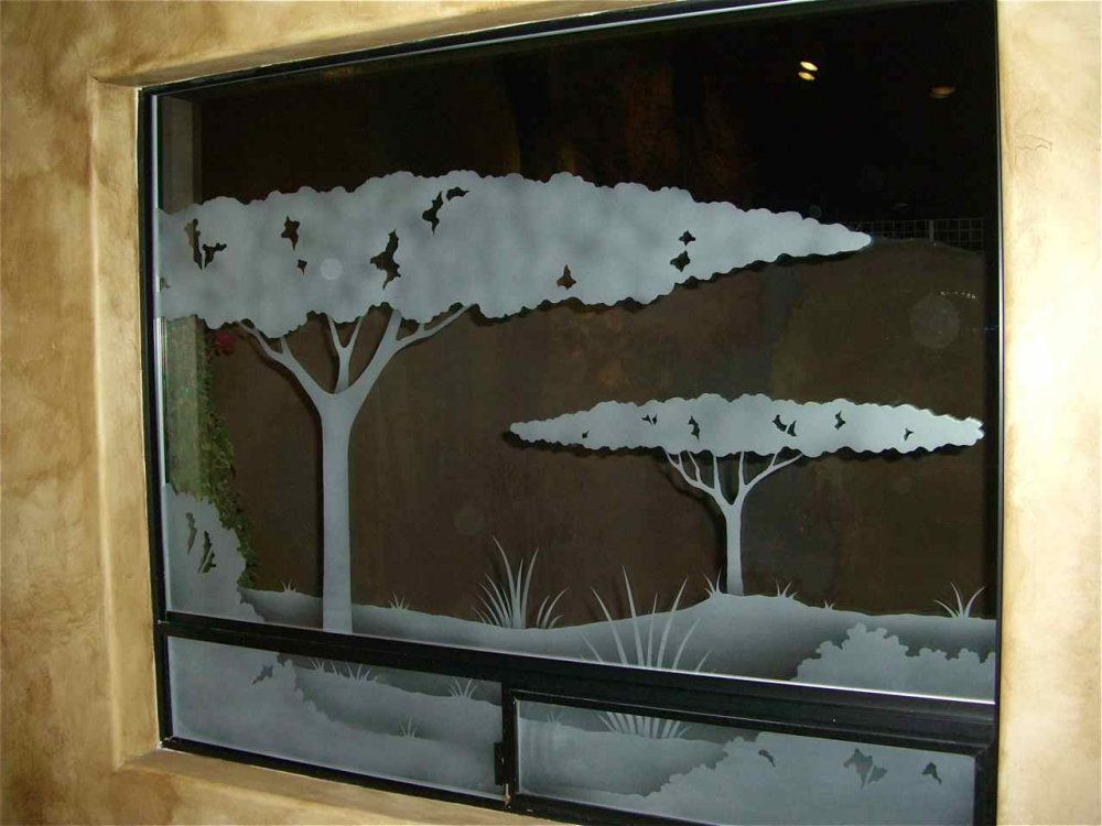 glass window etched glass western design landscape nature Acacia trees sans soucie