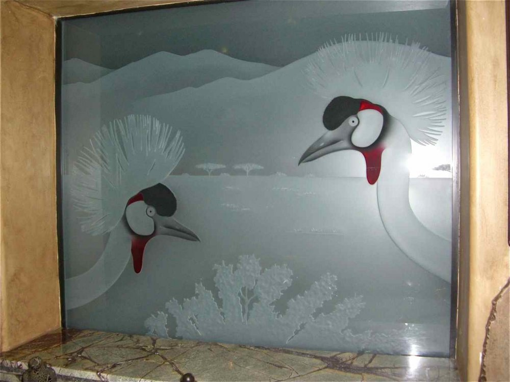 glass window etched glass African style birds foliage African crown cranes sans soucie