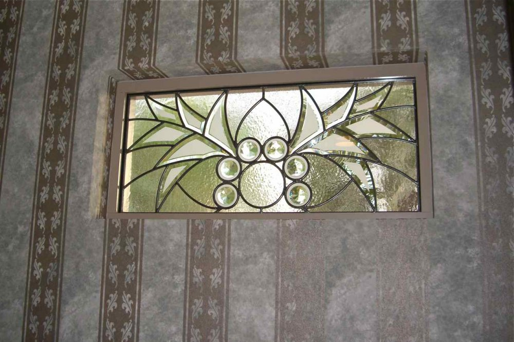 glass window leaded glass Moroccan decor ornate intricate arabesque bevel wings sans soucie