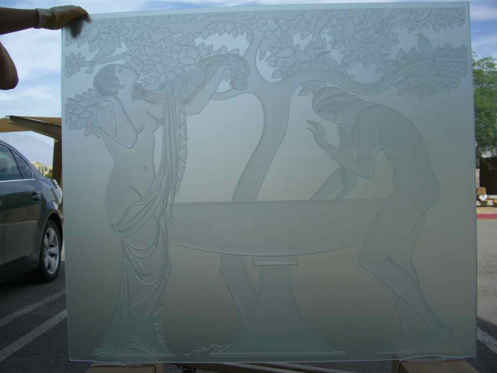 glass window etched glass art deco decor foliage well water Grecian ladies sans soucie