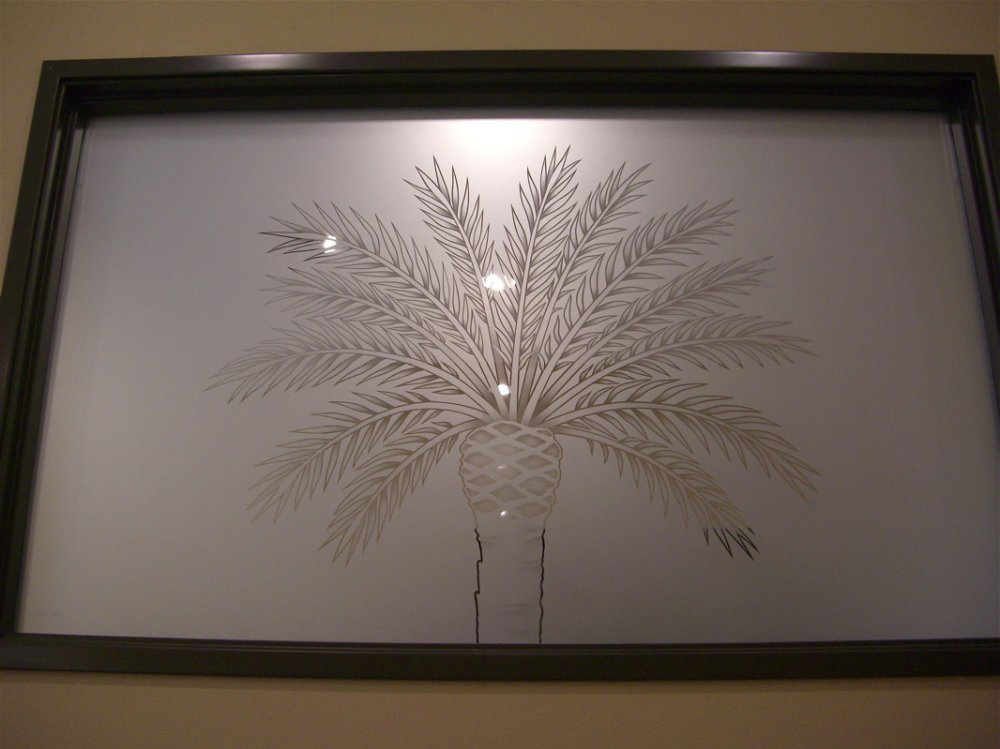 glass window etched glass Tropical design tree leaves bahama palm sans soucie