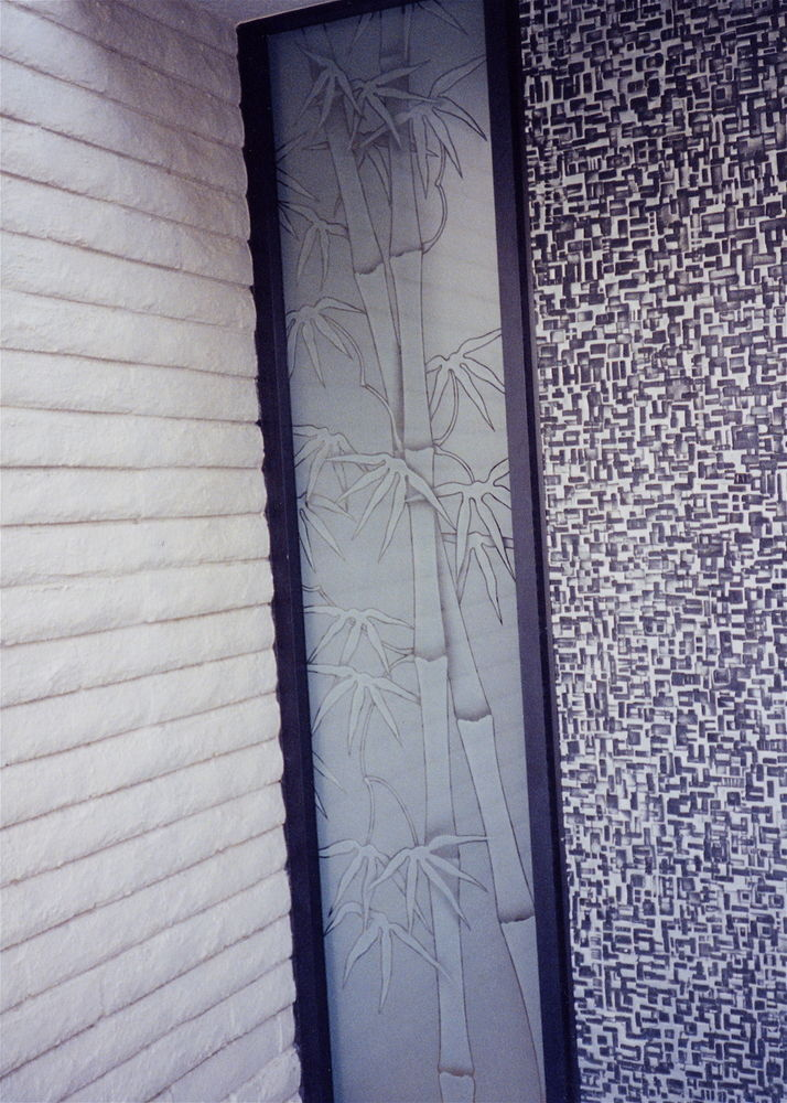 Bamboo Shts Sdlte Glass Window Etched Glass Asian Decor