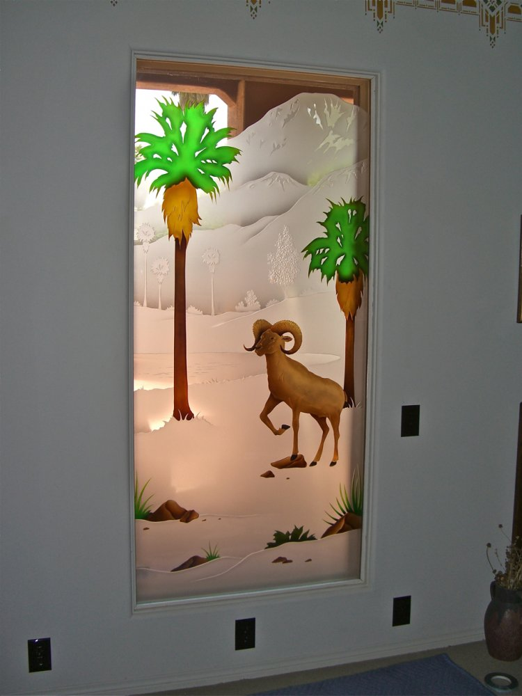 glass window etched glass western design rams landscape big horn sheep ll sans soucie
