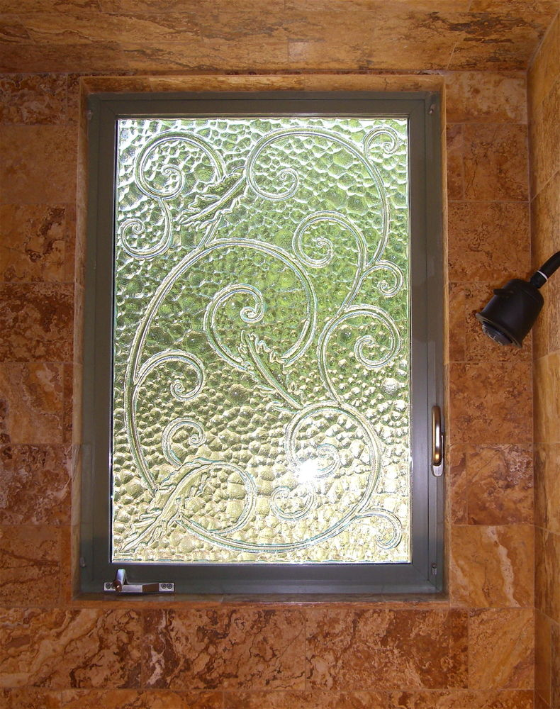 glass window cast glass French design ornate swirls cast scrolls sans soucie