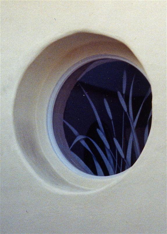 glass window etched glass rustic design foliage plants cattails sans soucie