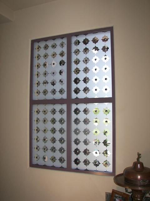 glass window etched glass Tuscan Style geometric patterns clover pattern with clavos sans soucie