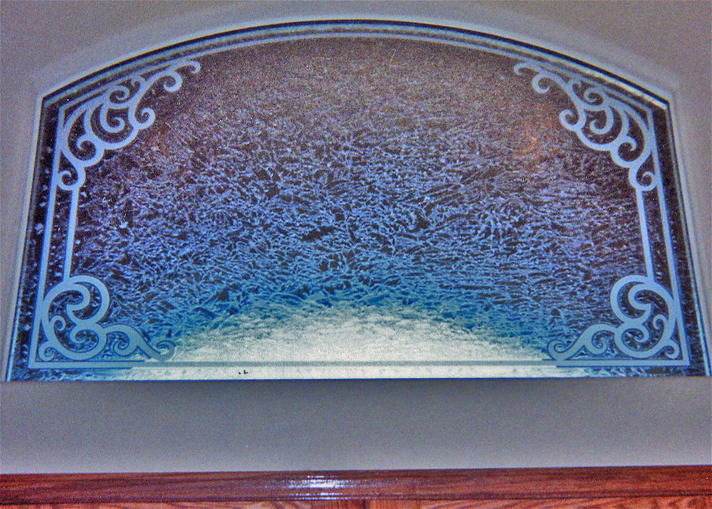 glass window etched glass Tuscan design ornate flourishes concorde transom sans soucie