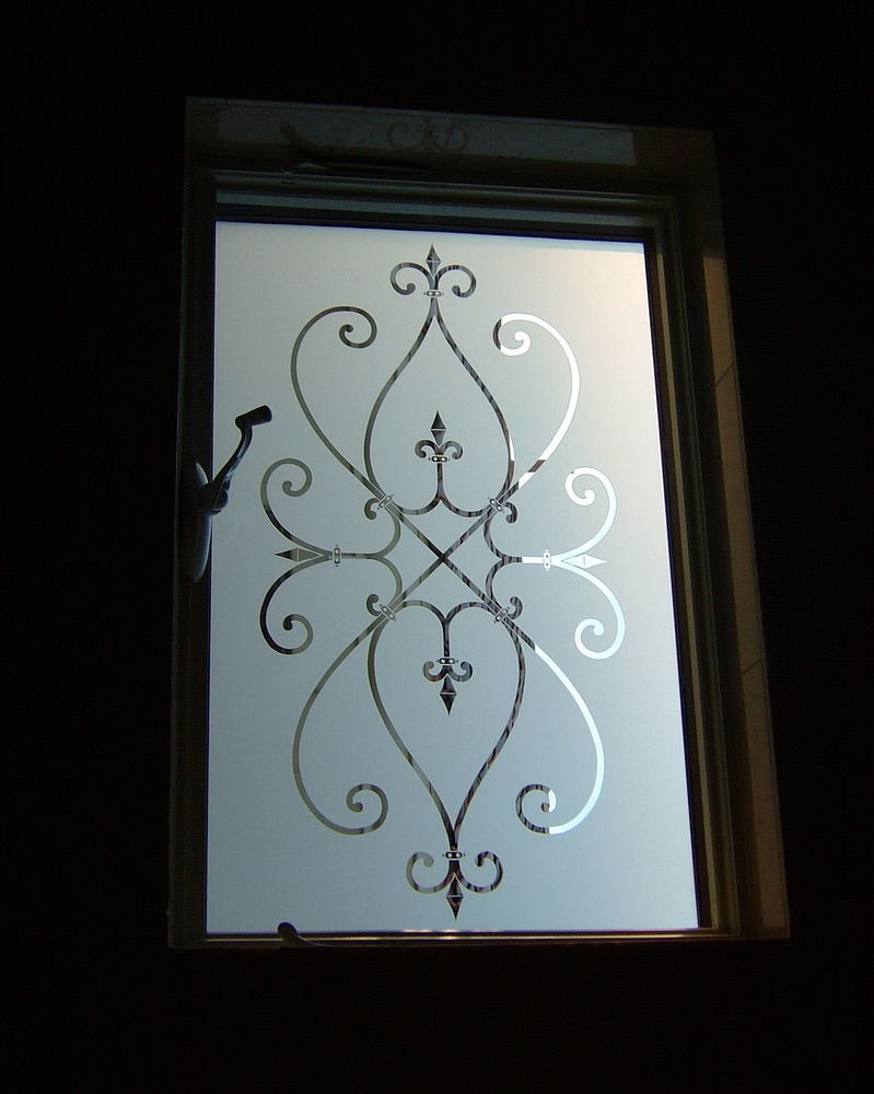 Cordoba square glass window etched glass tuscan decor for Window glass design