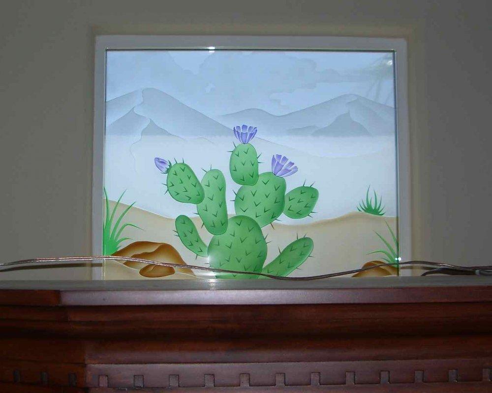 glass window etched glass rustic style landscape cactus desert colors ll sans soucie