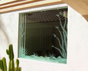 Sans Soucie Decorative Window with Glass Etching Western Rustic ocotillo