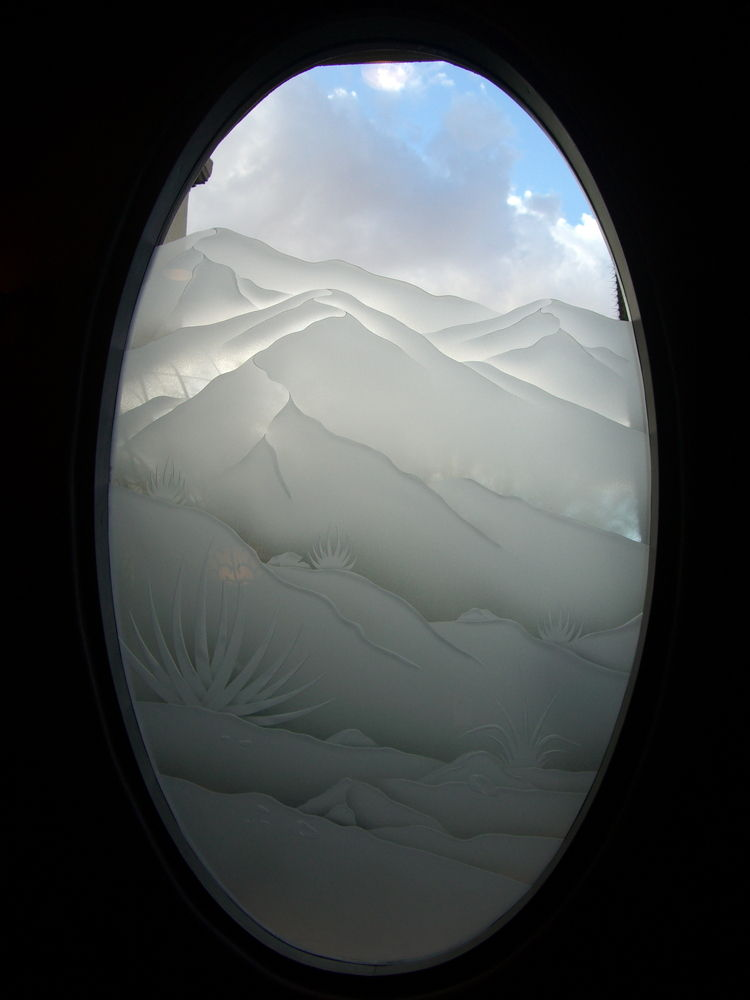 glass window etched glass rustic style landscapes desert mountain views sans soucie