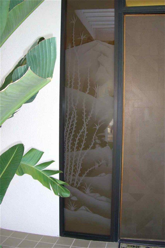 Desert Ocotillos Glass Window Bronze Glass Rustic Style