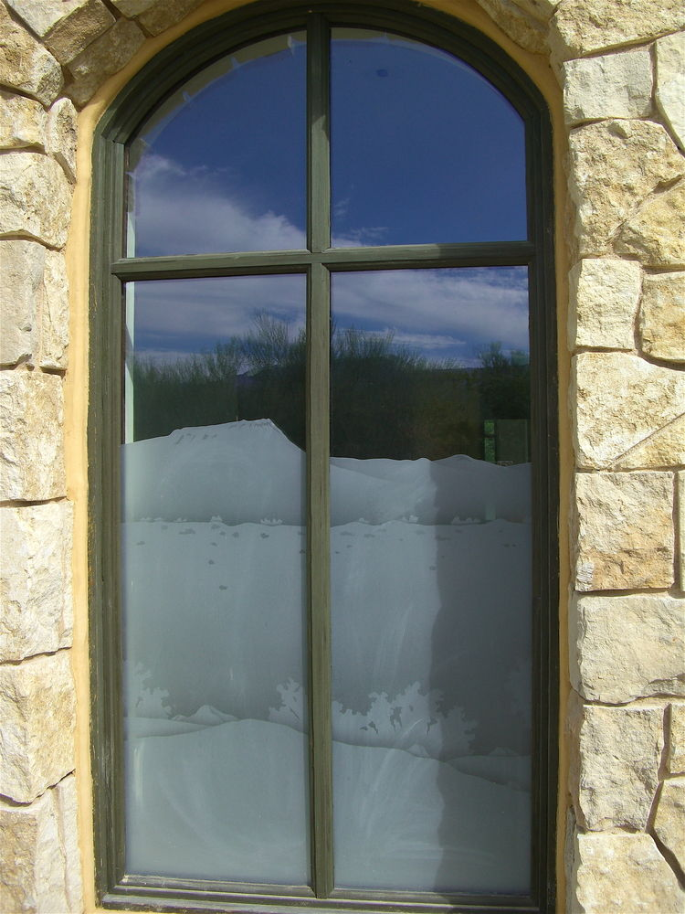 glass window etched glass rustic style rolling hills foliage desert views in the reserve sans soucie
