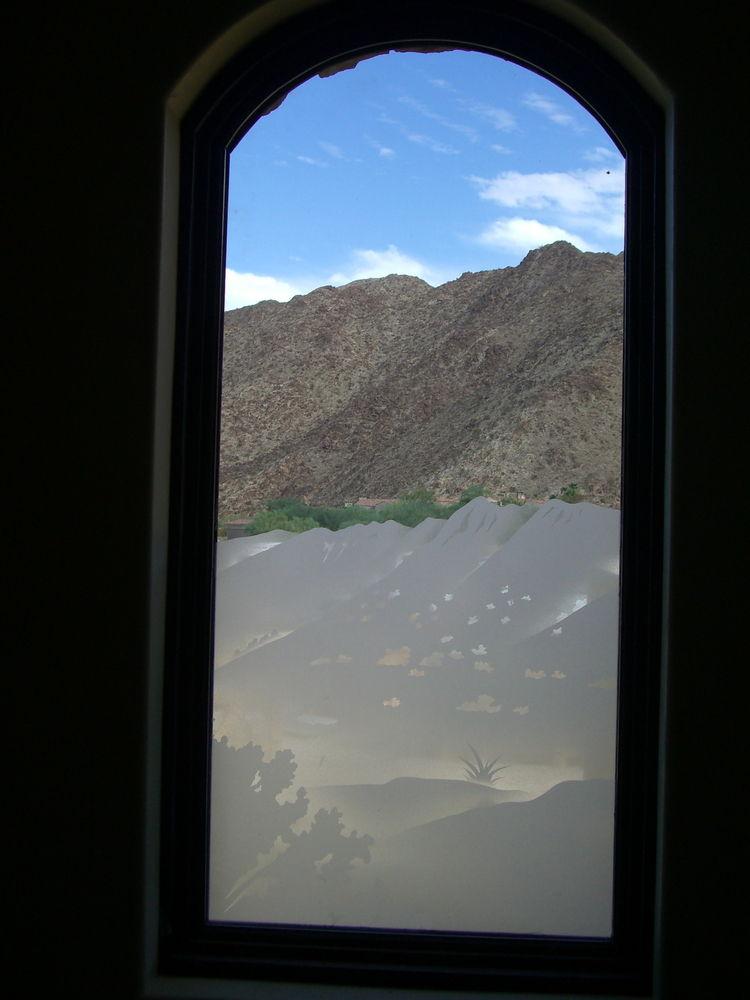 glass window etched glass Rustic Decor mountain landscape desert views lll sans soucie