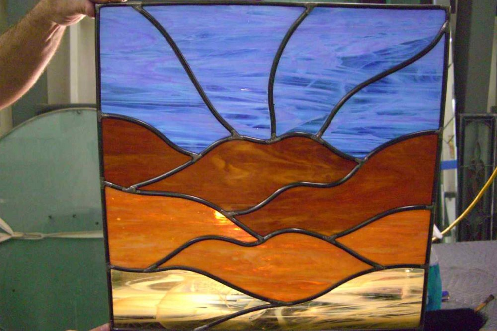 Desert Vista Glass Window Stained Glass Rustic Design