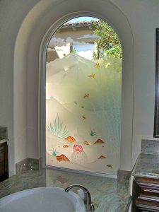 glass window etched glass western decor landscapes desert in bloom sans soucie