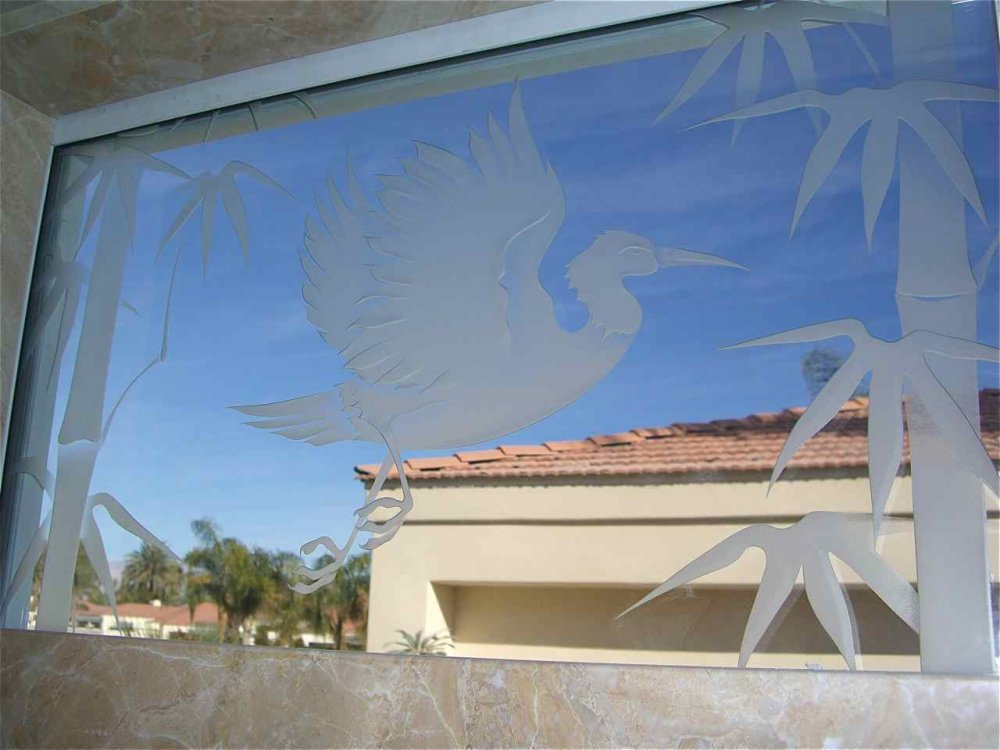 glass window etched glass Asian decor bamboo birds egret in flight sans soucie
