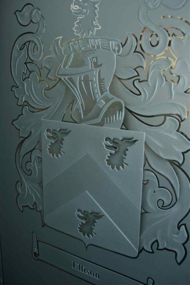 glass window etched glass Ellison family crest sans soucie