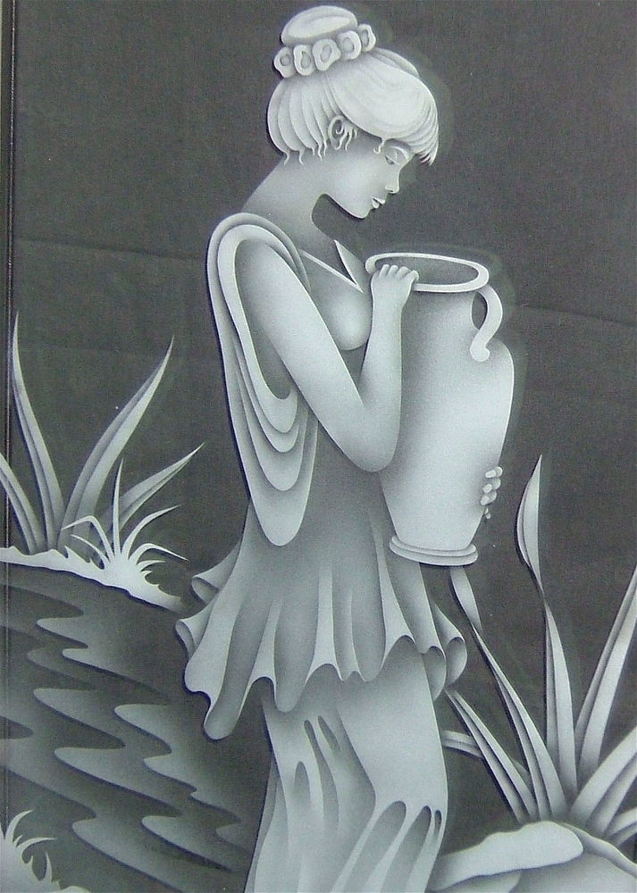glass window etched glass Portraiture style beautiful woman fair maiden sans soucie