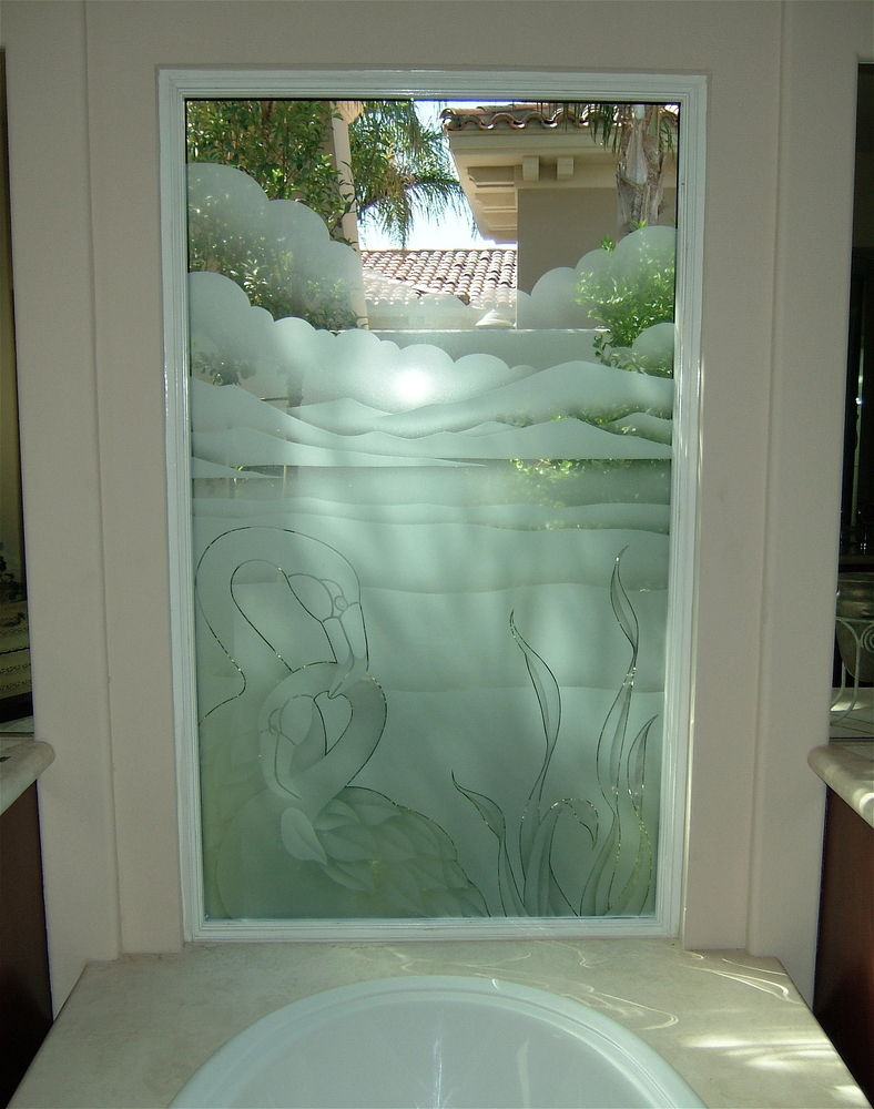 glass window etched glass art deco decor birds wild life flamingos sans soucie