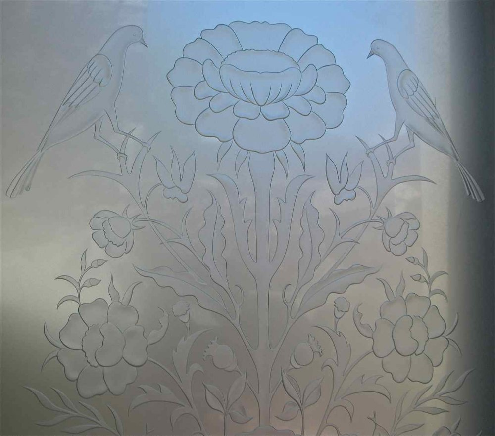 glass window etched glass English country style flowers birds floral perch sans soucie