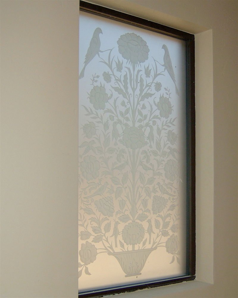 Floral perch ll glass window etched glass french design for Window etching