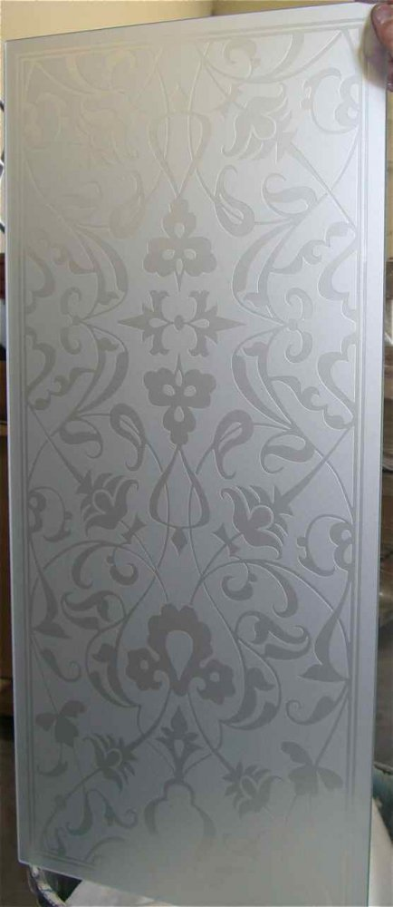 glass window etched glass Moroccan style ornate flowers floweret ll sans soucie