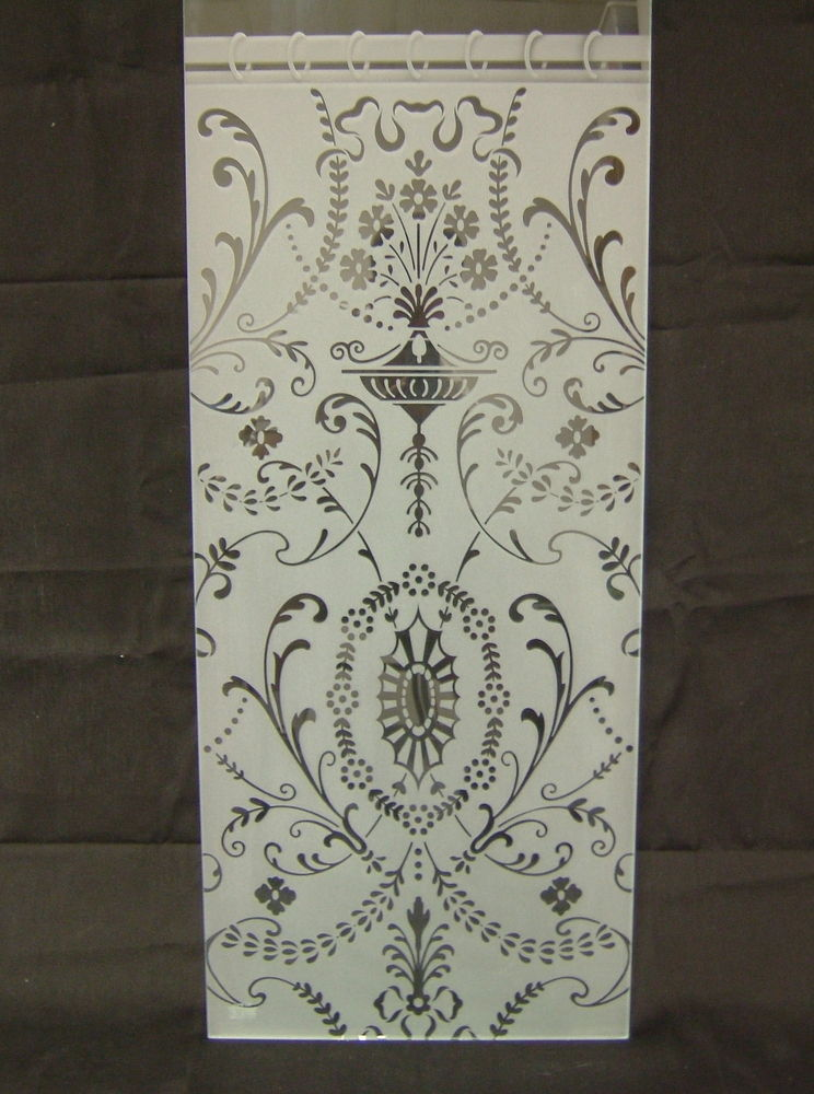 glass window etched glass Victorian style ornate flourishes hanging lace sans soucie