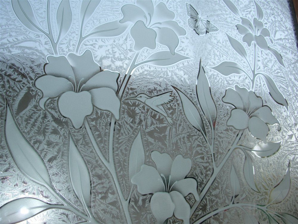 glass window etched glass tropical style flowers foliage hibiscus beauty sans soucie