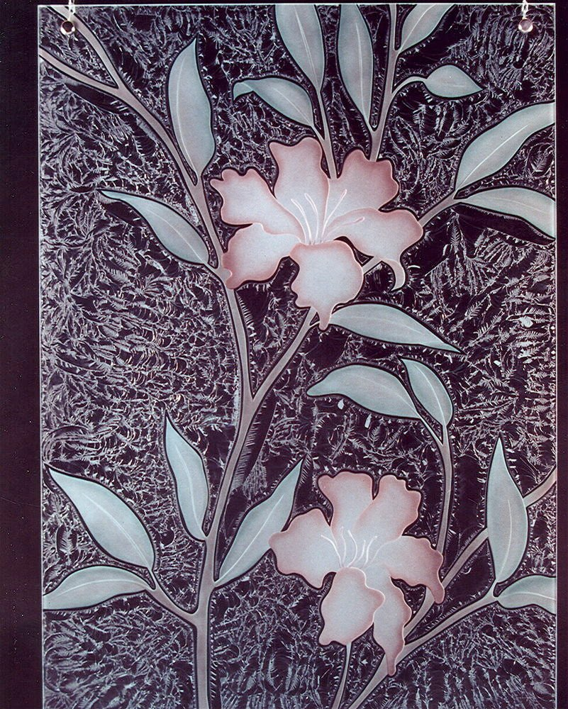 Hibiscus Glass Window Etched Glass Tropical Design