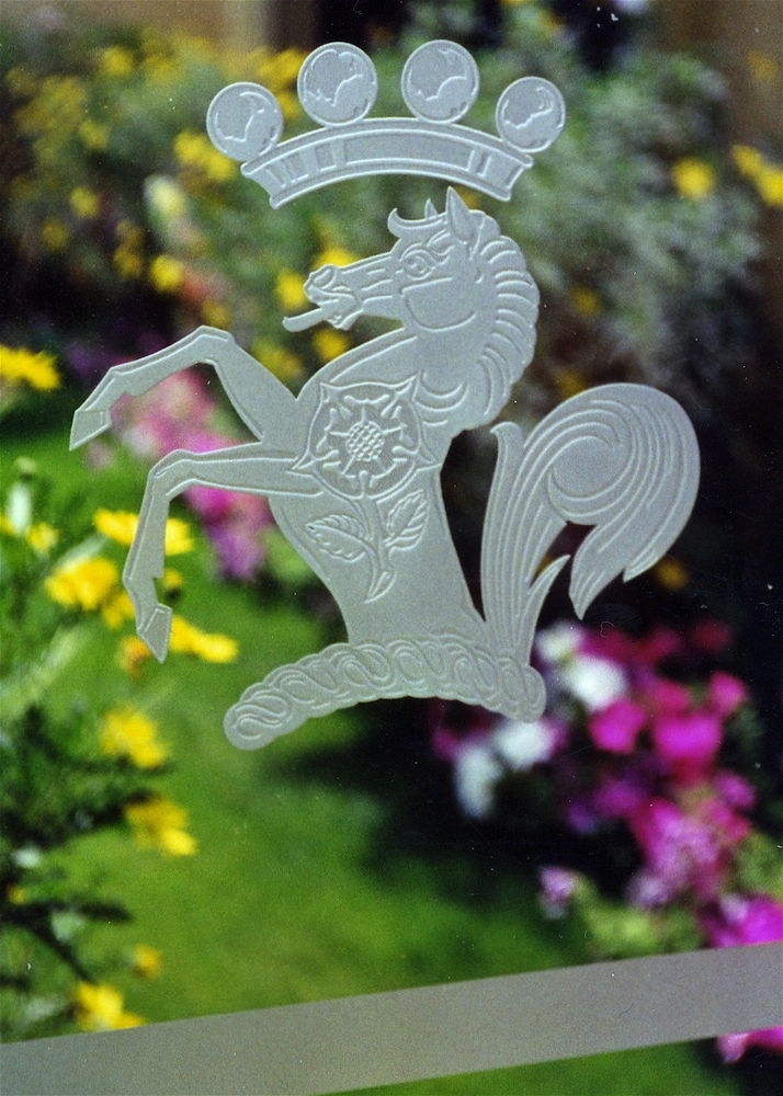 glass window etched glass logos horse insignia sans soucie