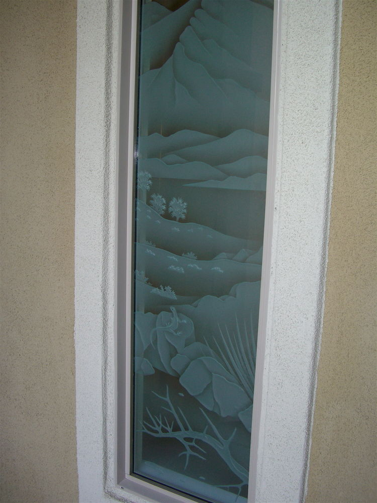 glass window etched glass western style landscape hills living desert sans soucie