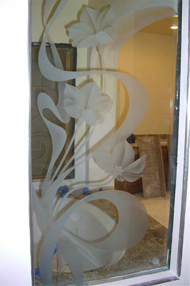 glass window etched glass tropical style flowers petals morning glory & ribbons sans soucie