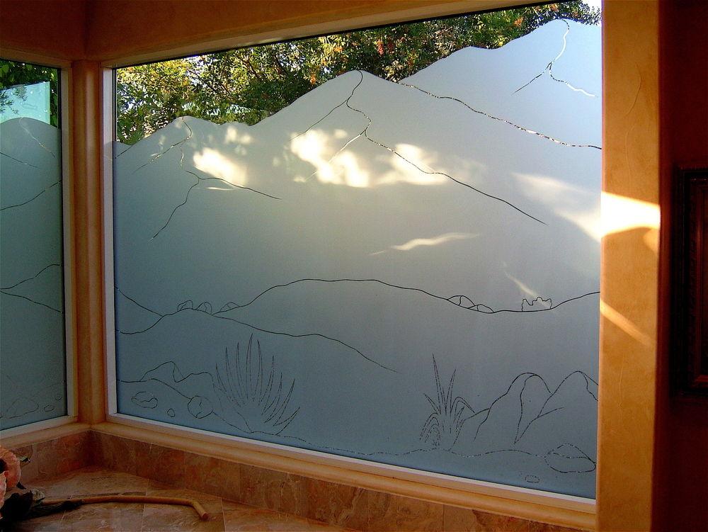 glass window etched glass western design Desert landscapes mountain landscape lll sans soucie