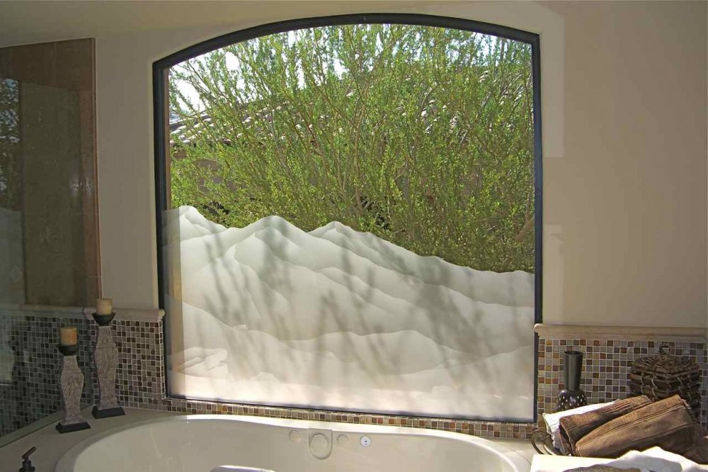 Mtn Srrndngs Glass Window Etched Glass Western Decor