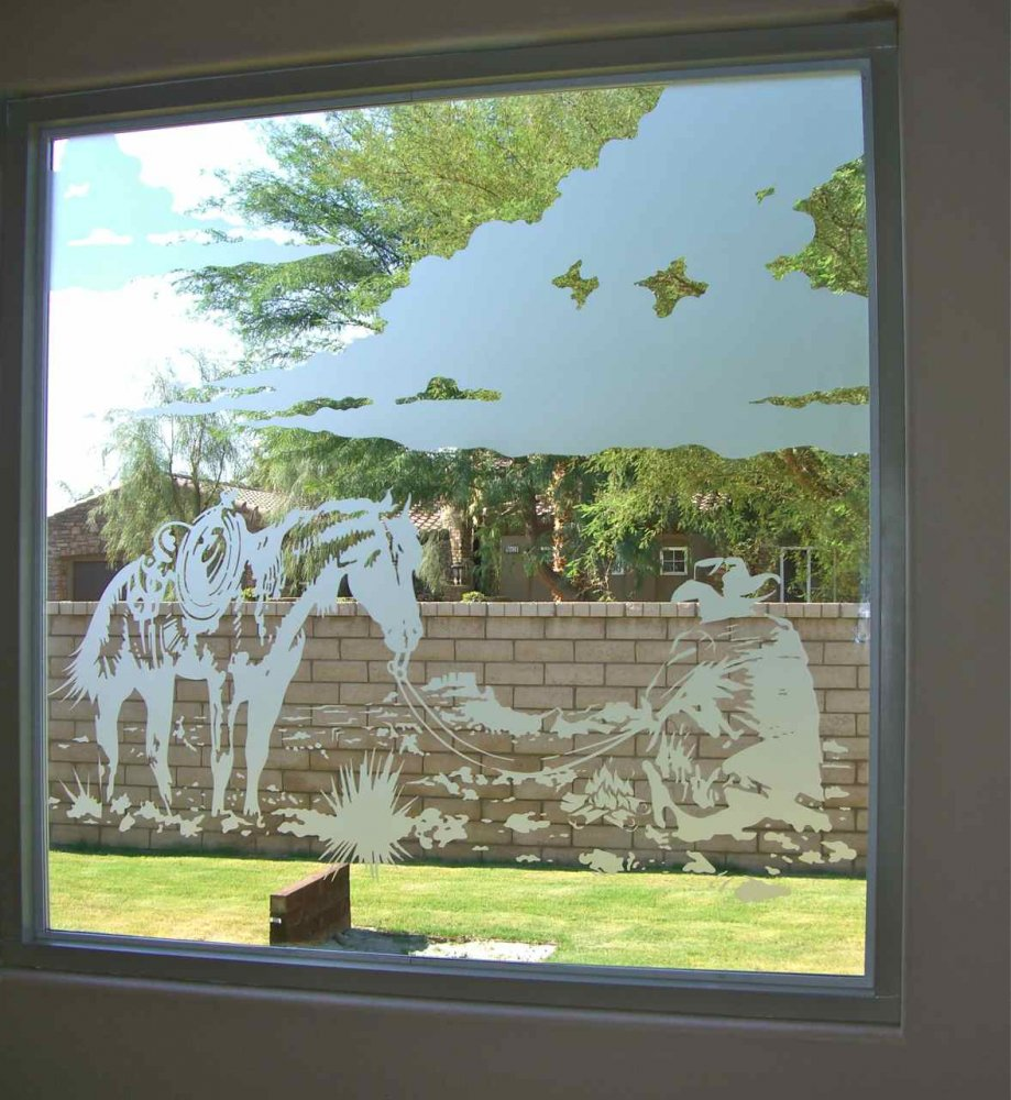 glass window etched glass western decor horse cooking open fire sans soucie