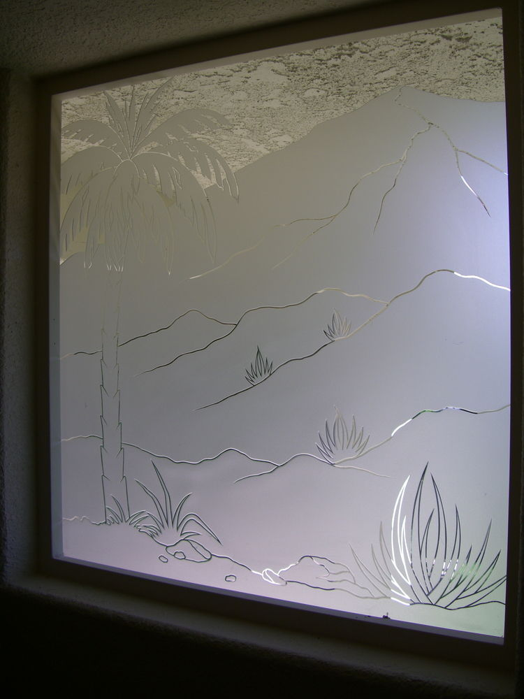 glass window etched glass western style landscape foliage palm desert sans soucie
