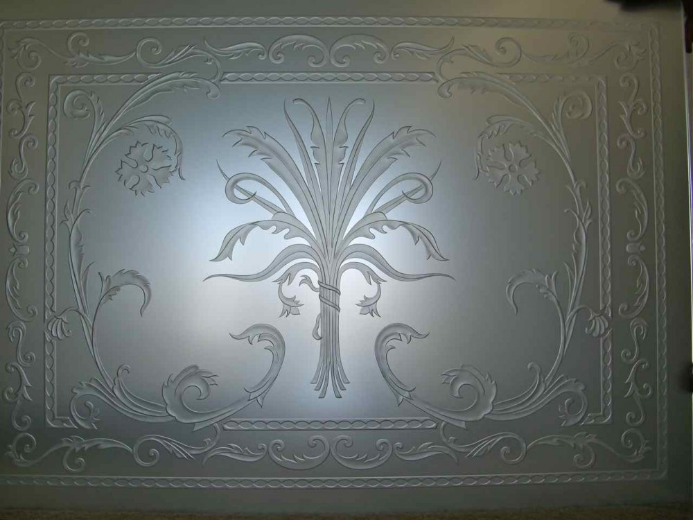 glass window etched glass French decor ornate flowery flourishes picturesque cala lillies ll sans soucie