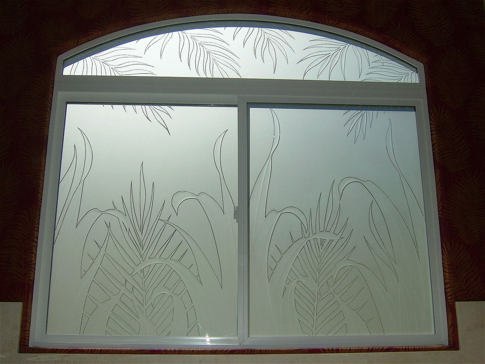 Reeds ferns glass window etched glass tropical design for Window etching