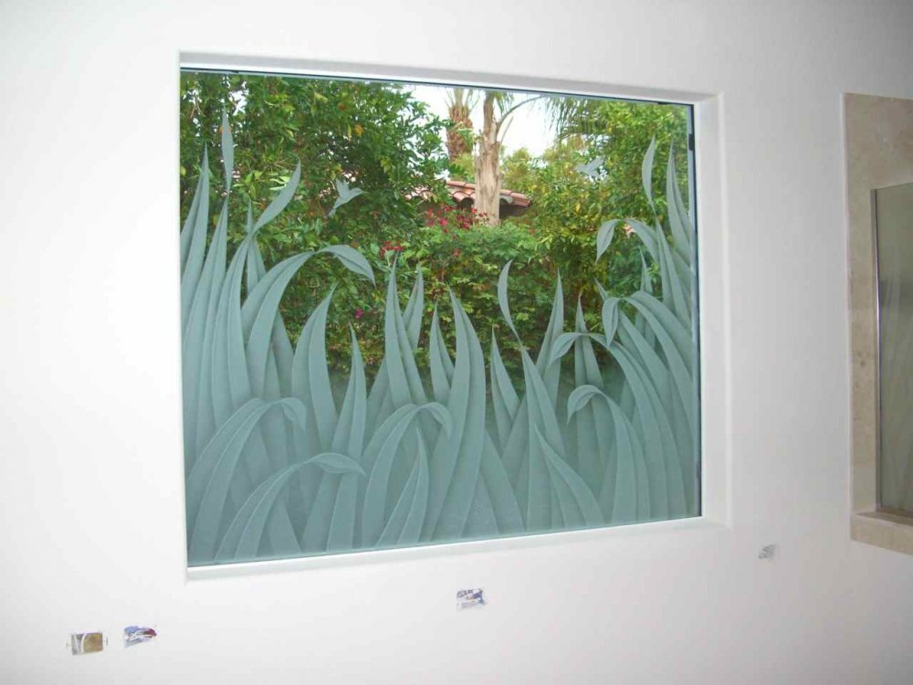 glass window etched glass Tropical style foliage birds reeds & hummingbirds ll sans soucie
