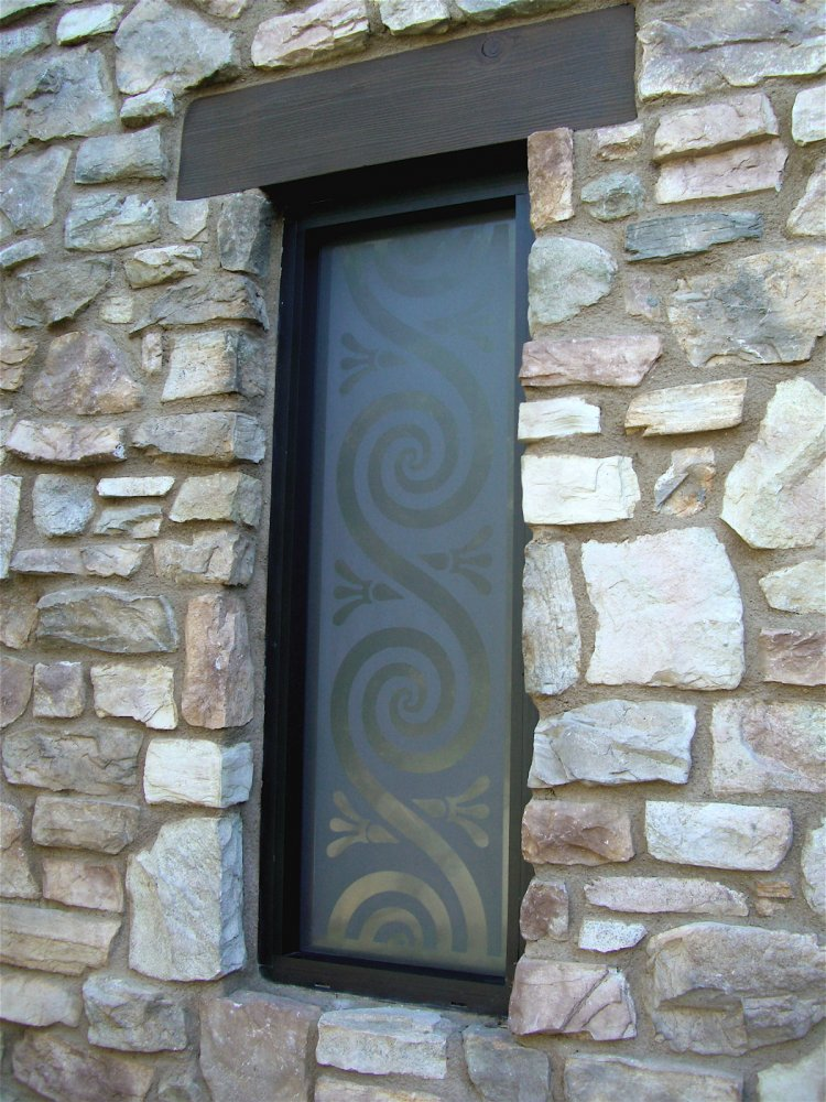 glass window etched glass contemporary style swirls patterns revolve sans soucie
