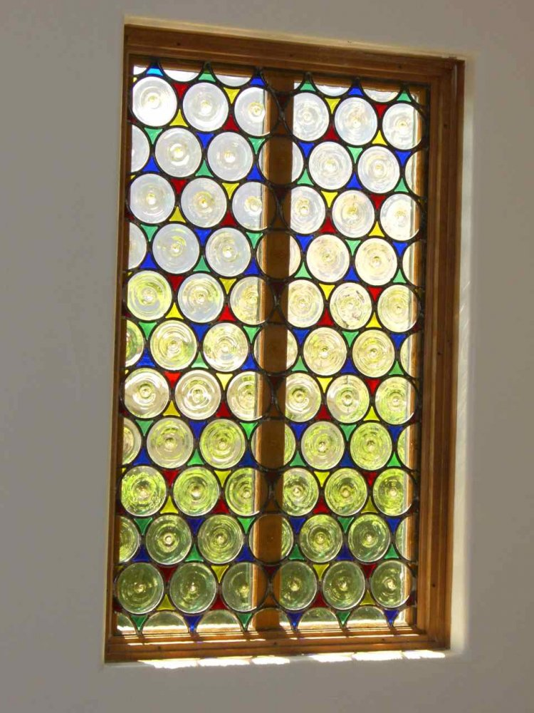 glass window beveled glass modern decor circular patterns rondels sans soucie