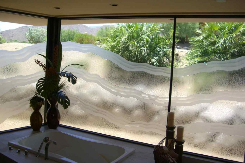glass window etched glass rustic design rolling hills rugged waves sans soucie
