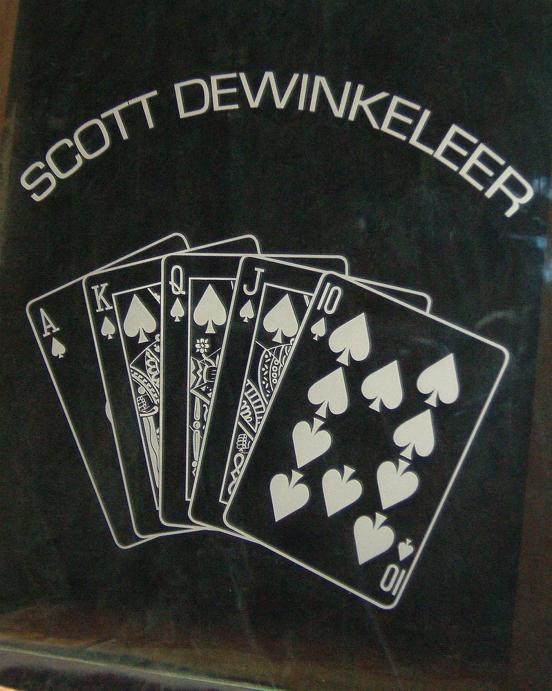glass window etched glass theme rooms poker gambling Scott's card room sans soucie