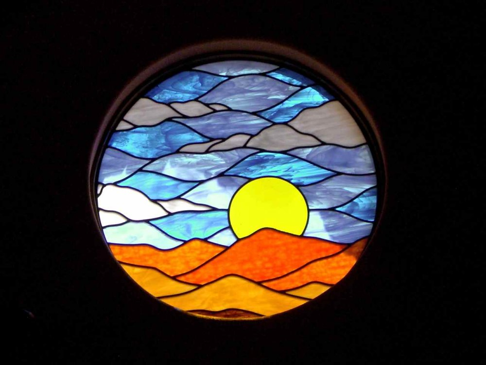 glass window Stained glass rustic design landscape mountains sunrise stained sans soucie