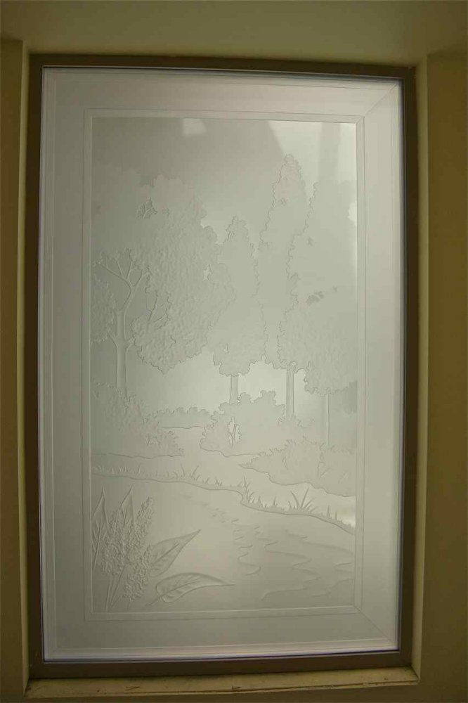 glass window etched glass western decor trees river tranquil meadows sans soucie