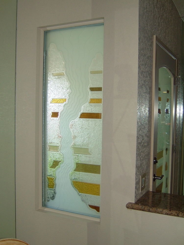 glass window etched glass rustic style colorful bands triptic sidelite sans soucie