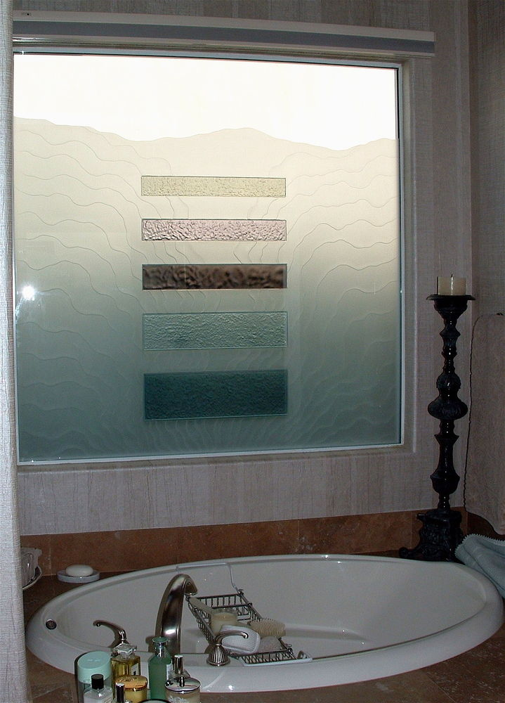 glass window etched glass rustic decor hills mountains triptic waves sans soucie
