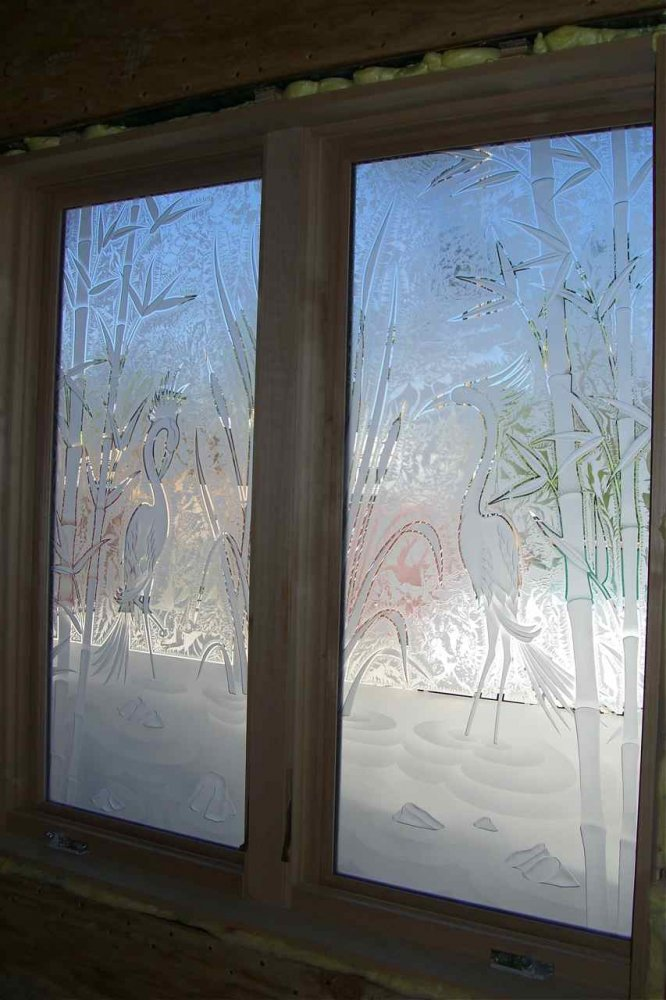 glass window etched glass Asian decor bamboo foliage wading egrets ll sans soucie